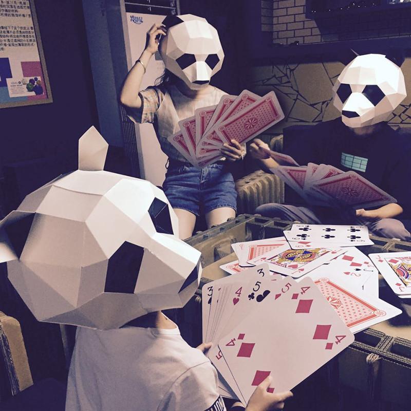 创意熊猫头套动物纸模diy材料派对化妆舞会面具儿童表