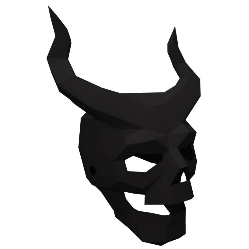 多边形创意恶魔鬼纸模骷髅面具角手工diy男全脸恐怖头套派对道具