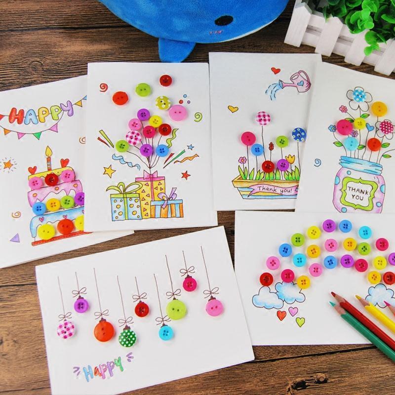 儿童自制创意纽扣画立体卡片感恩节贺卡新年春节手工diy制作材料