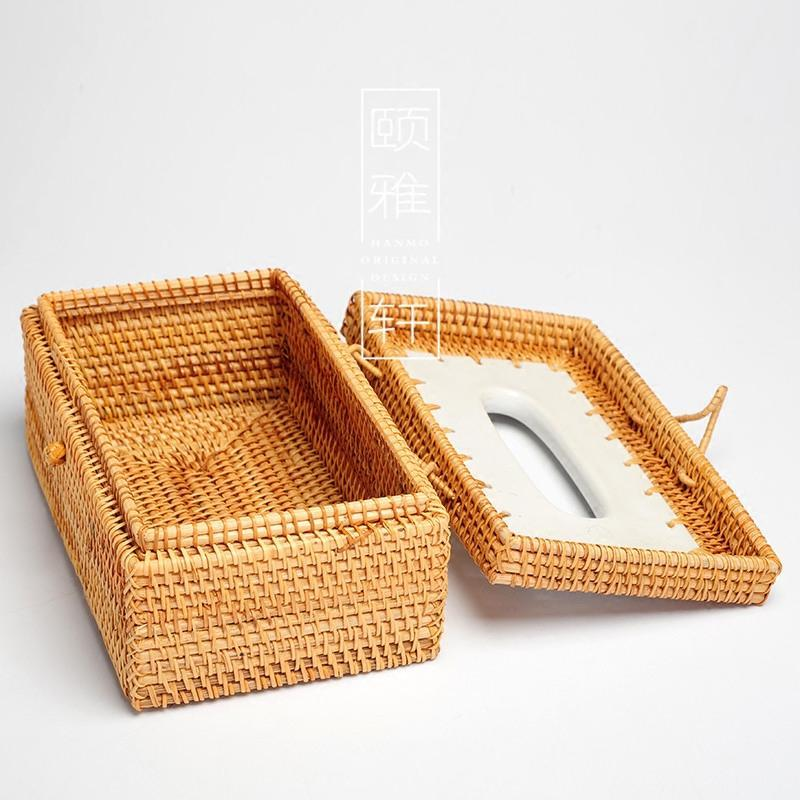 越南藤编纸巾盒 手编纸抽盒 桌面纸巾收纳盒 秋藤编纸筒