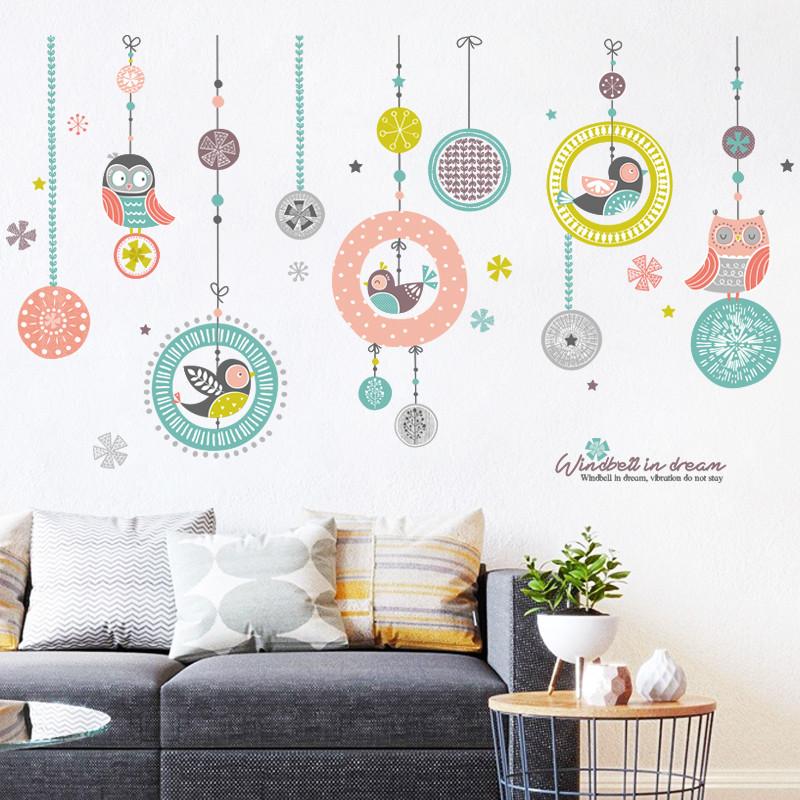文艺手绘花鸟清新卧室风铃装饰品贴画浪漫温馨客厅沙发背景墙贴纸