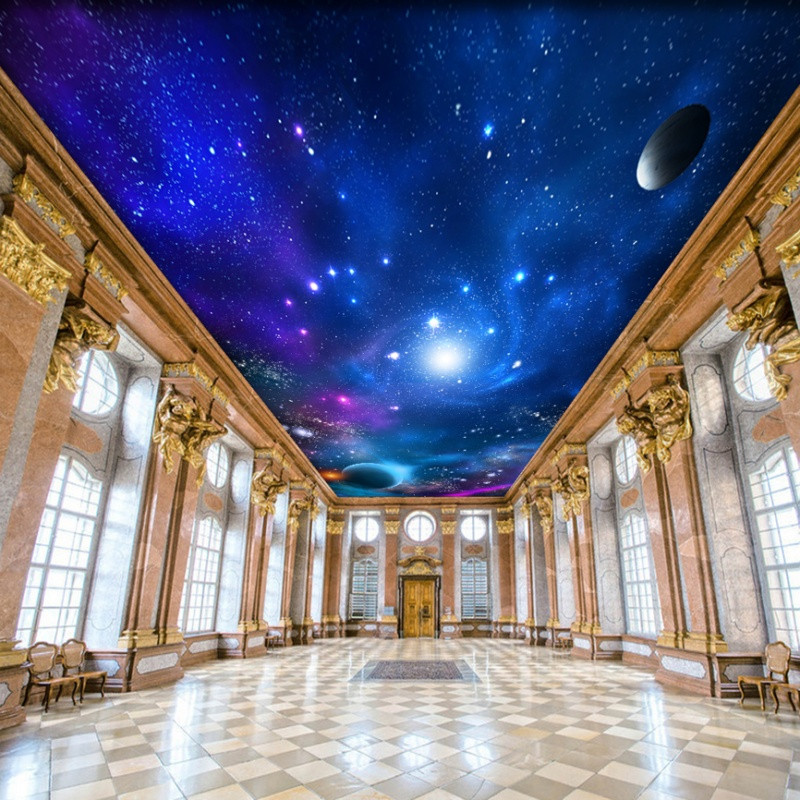 天花板裝飾吊頂壁紙房頂墻貼畫3d立體墻紙自粘防水大貼紙宇宙星空