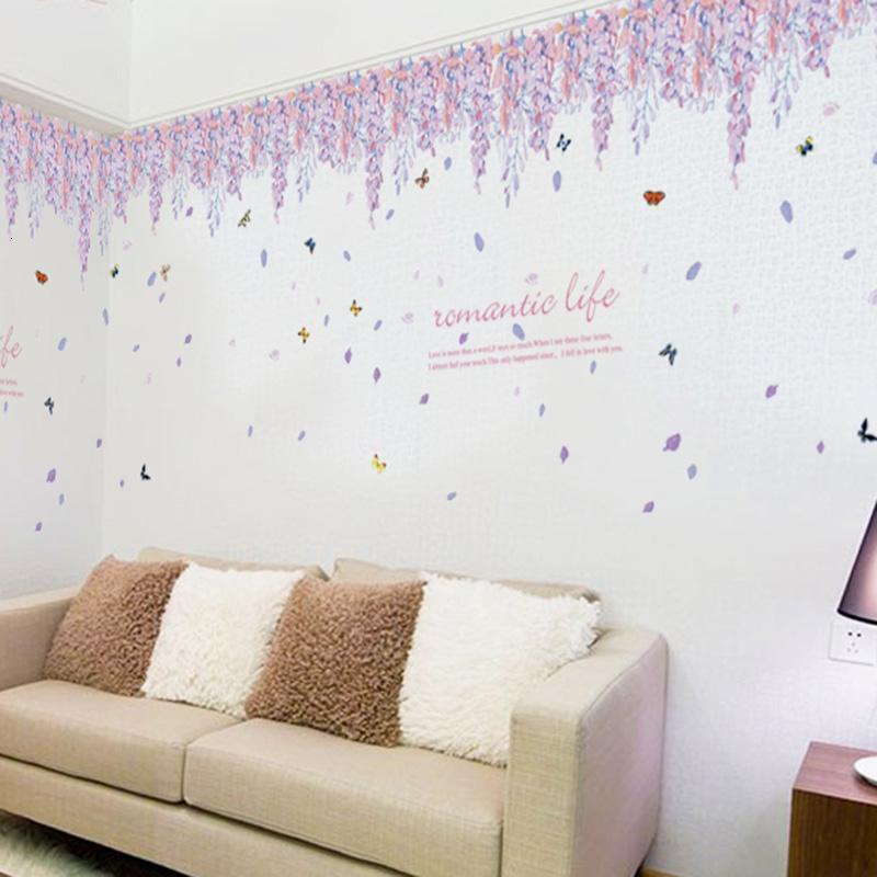 客厅电视沙发背景墙壁墙纸贴画温馨卧室装饰可移除墙贴纸花墙贴纸