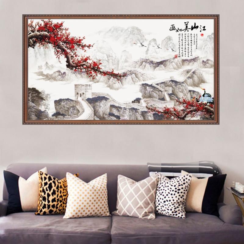 墙贴山水风景画沙发背景客厅电视墙卧室床头装饰餐厅贴纸风水画