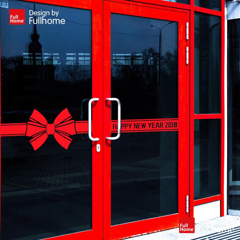 玻璃门pvc金色墙贴装饰条情人节红色饰品蝴蝶结大新年装饰橱窗贴