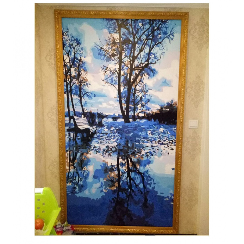 diy数字油画风景竖版玄关走廊过道现代手工绘填色油彩客厅装饰画