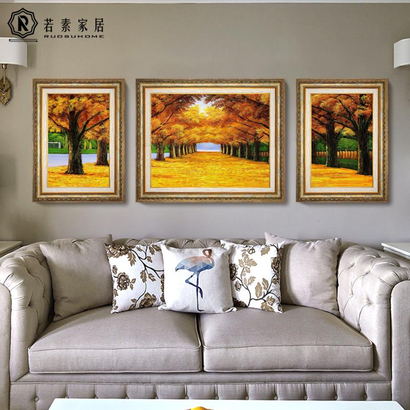 客厅装饰画沙发背景墙三联餐厅玄关招财山水风景油画壁画黄金大道