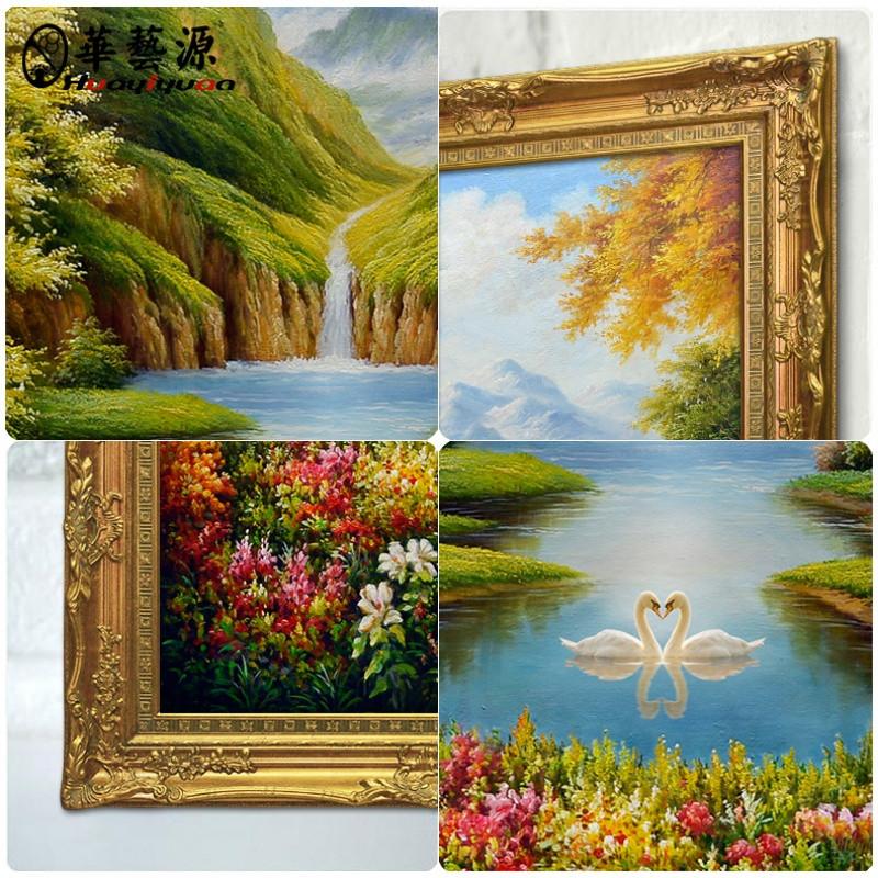 欧式手绘风景油画玄关装饰画过道竖版挂画天鹅湖壁画定制