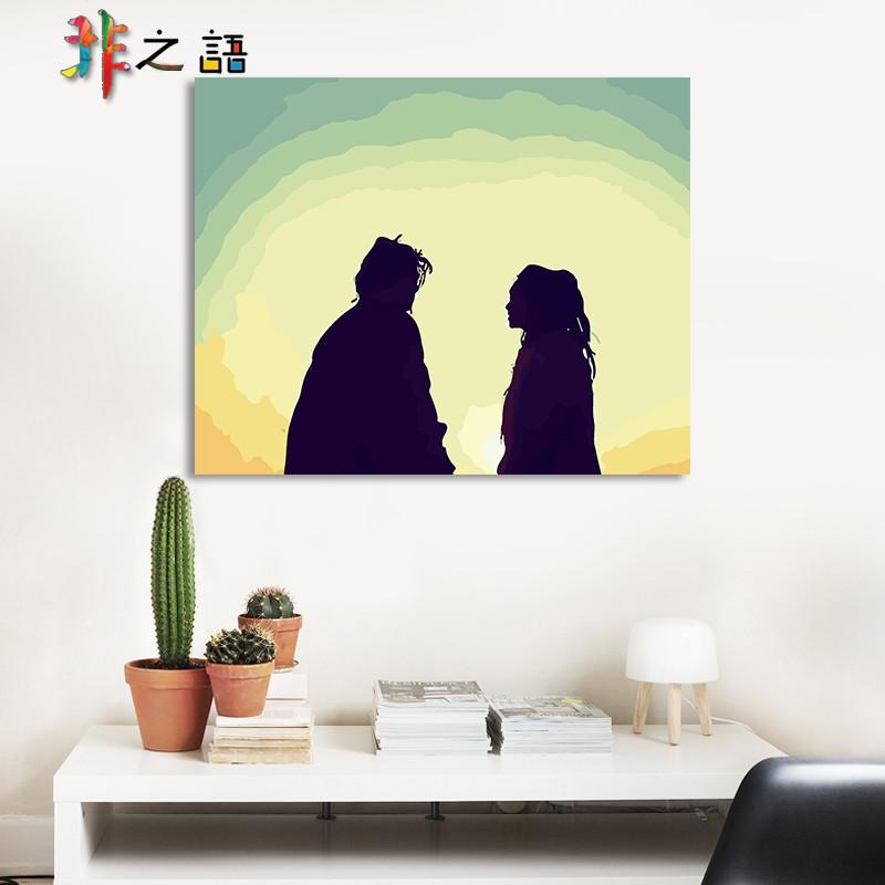 diy数字油画人物动漫手绘油彩装饰画 宝和紫霞仙子