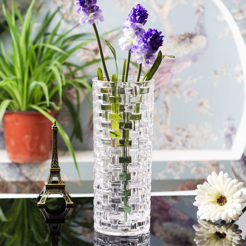 北欧简约 时尚加厚水晶玻璃花瓶 创意富贵竹餐桌插花花瓶花器