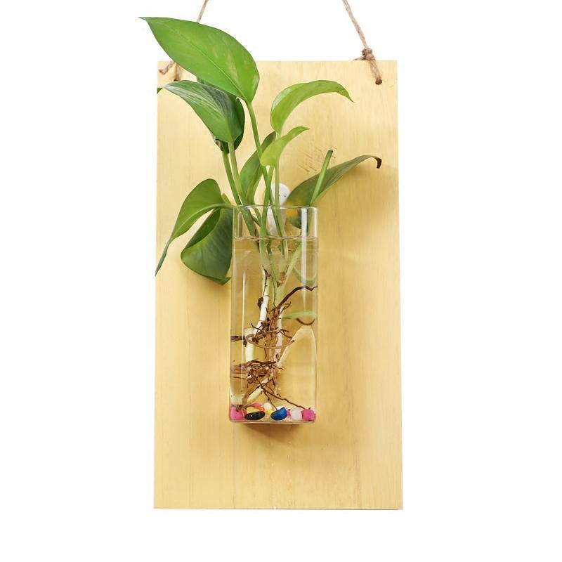 悬挂创意木板水培容器壁挂透明水培玻璃花瓶墙面植物客厅家居装饰