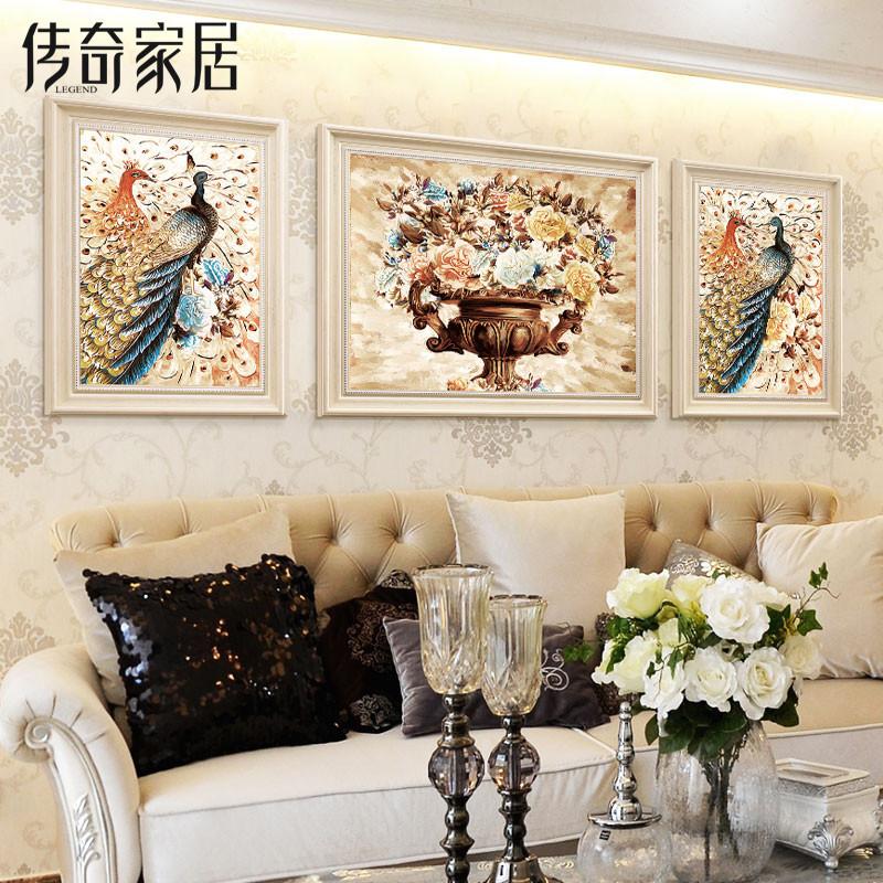 沙发背景墙装饰画 壁画客厅欧式三联组合挂画风水手绘油画