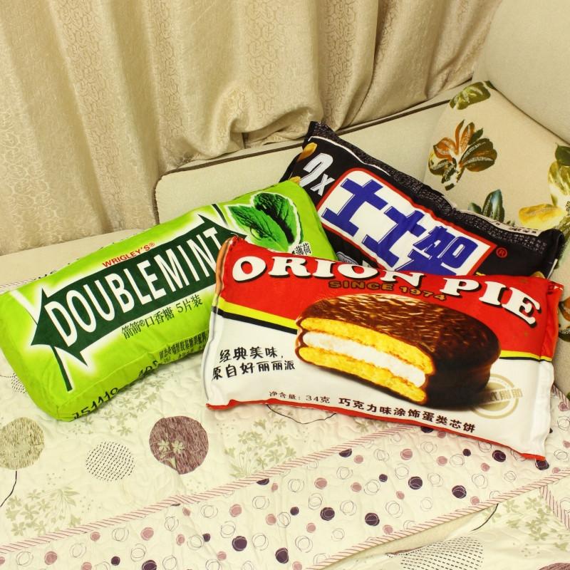 创意个性卡通奶糖抱枕靠垫毛绒玩具零食枕头圣诞节礼物女萌