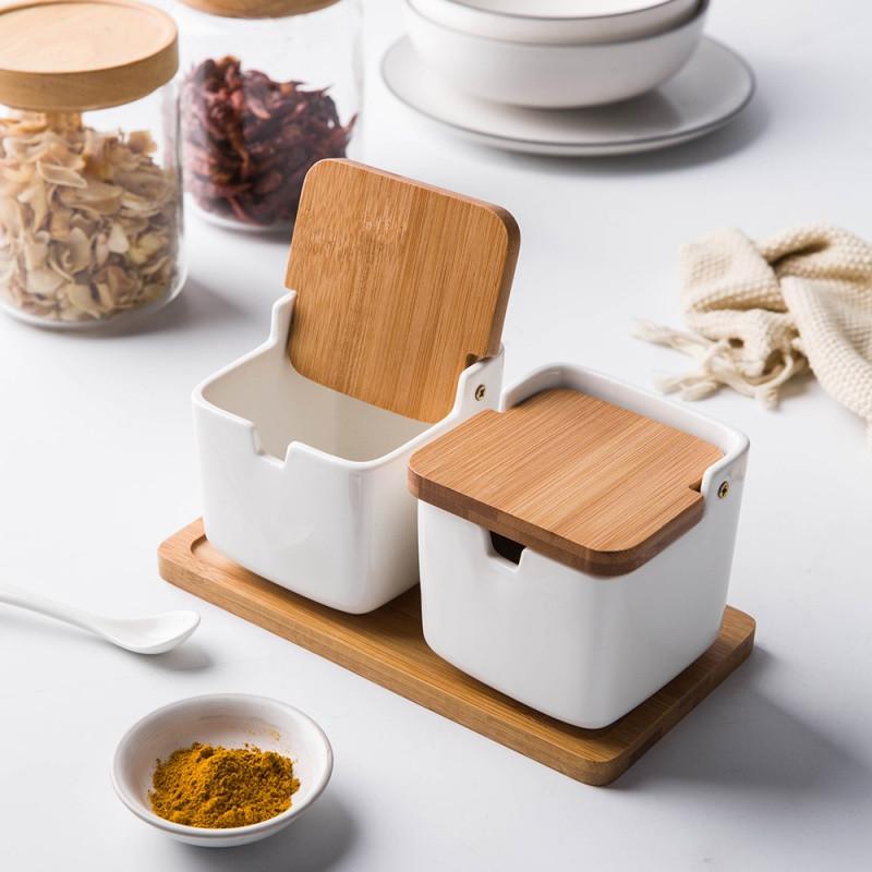 日式陶瓷竹木调味罐调料盒调味瓶盐罐三件套创意调料罐