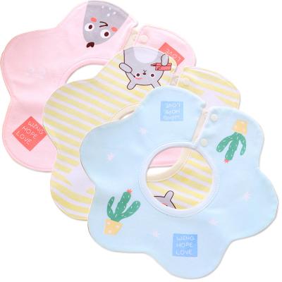 新生儿围兜纯棉口水巾360度旋转围嘴 防水按扣围兜婴幼儿圆形围嘴
