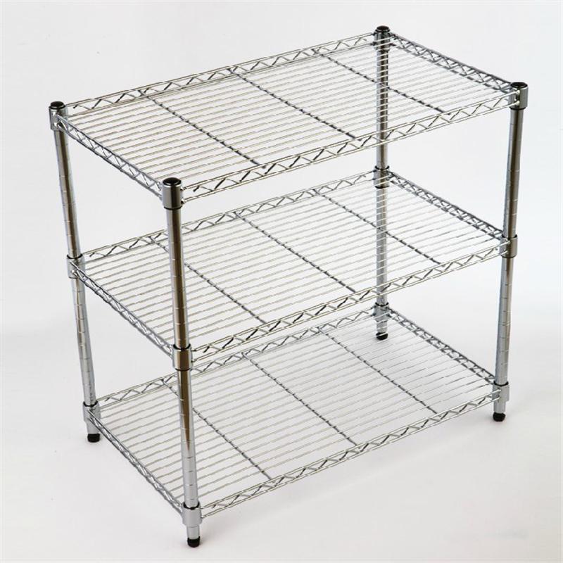 厨房用品置物架 三层不锈钢色储物架微波炉架收纳架3层架锅架图片