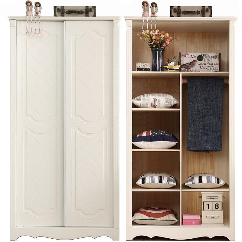 8m小衣柜推拉门简易现代移门衣柜实木美式白色韩式0.9m