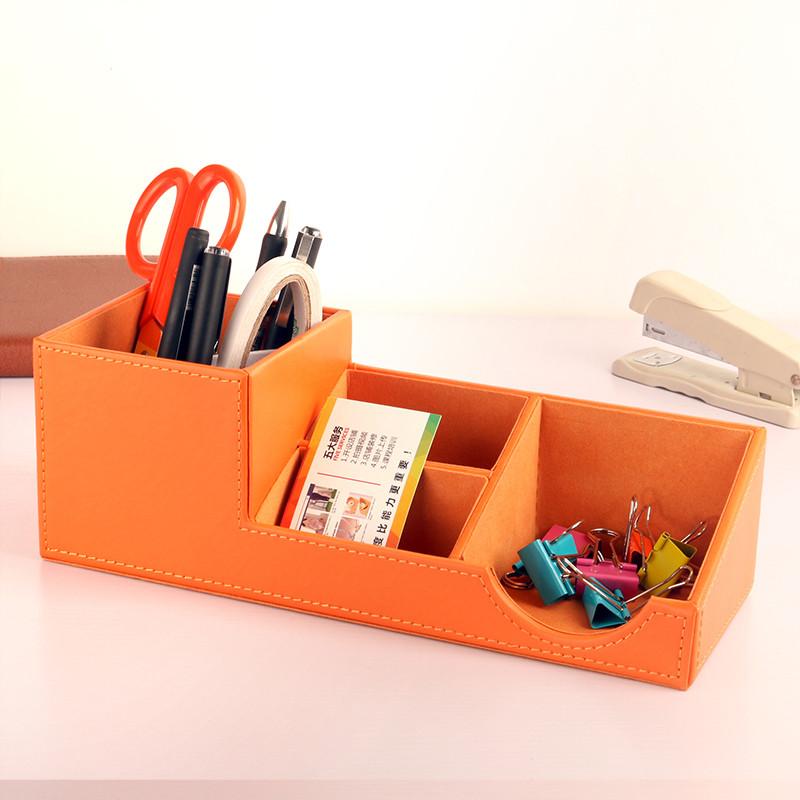 多功能笔筒创意时尚 皮革办公桌面文具收纳盒小清新可爱 欧式简约