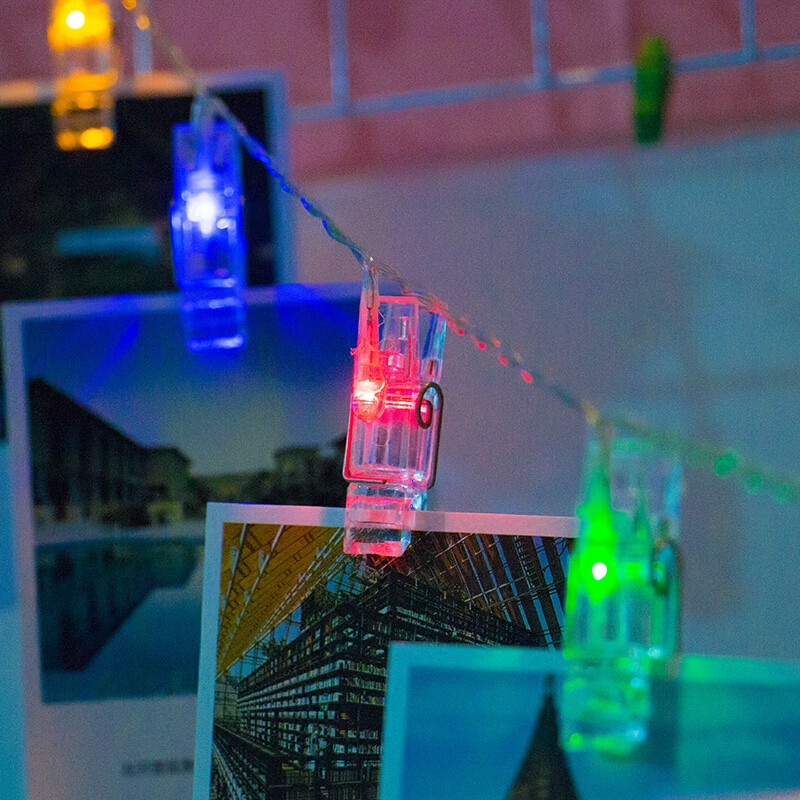 led相片照片墙夹子电池小彩灯闪灯串灯晚会房间新年装饰布置