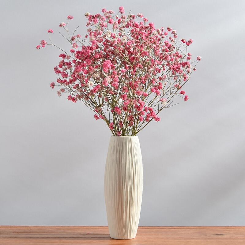 干花花瓶小清新陶瓷欧式摆件客厅满天星插花白色文艺简约家居装饰 绻
