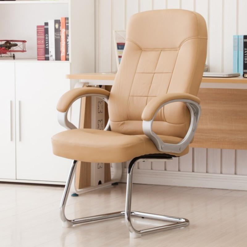 弓形电脑椅 家用真牛皮办公椅子 工作学生椅老板职员会议椅