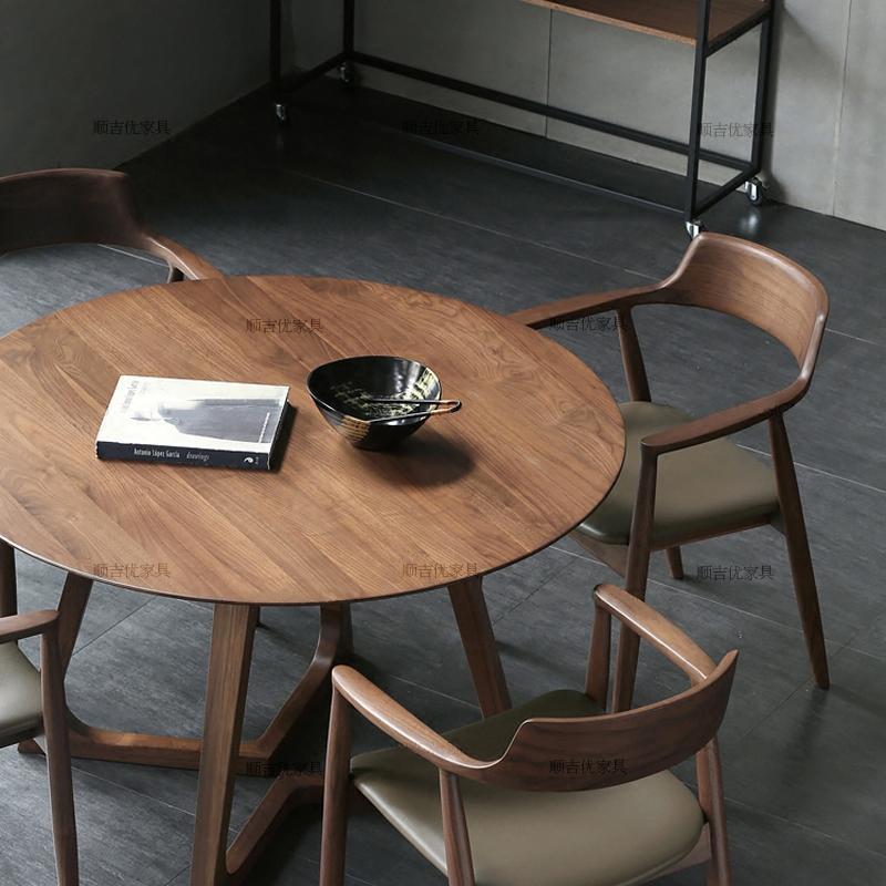 北欧圆形餐桌榆木大圆桌简约小户型吃饭桌子黑胡桃色洽谈桌椅组合