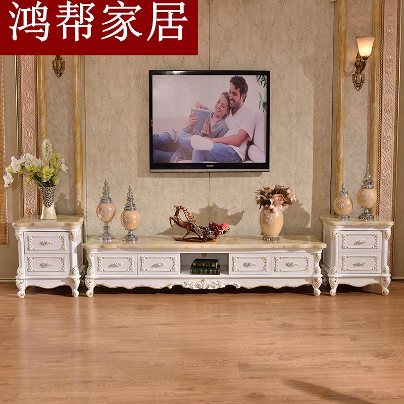 欧式大理石电视柜全实木雕花茶几电视柜组合白色描金简欧客厅地柜图片