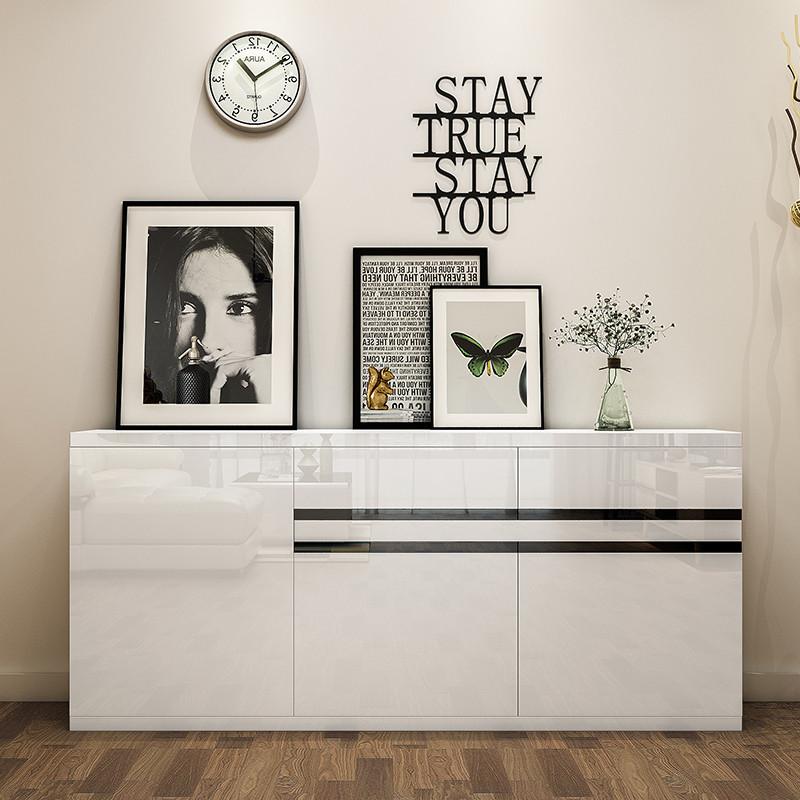 现代简约组装餐边柜储物白色烤漆酒柜 时尚餐厅碗柜茶水柜