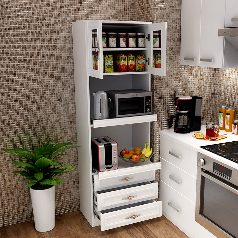 现代简约餐边柜酒柜高储物柜茶水柜厨房柜橱柜简易碗柜微波炉定制