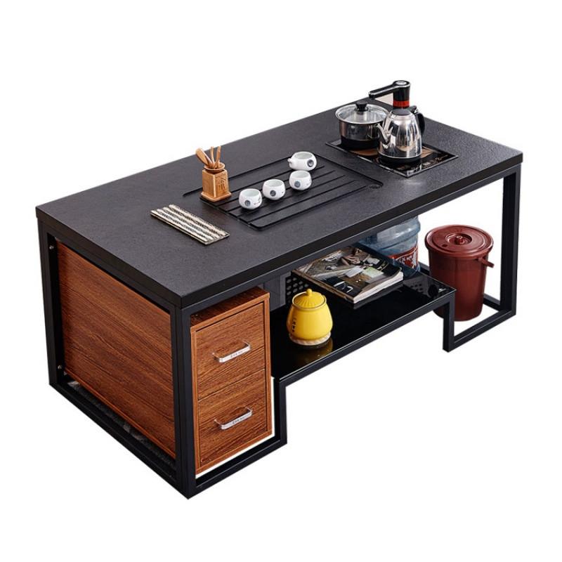火烧石功夫茶桌简约现代创意办公茶台钢化玻璃大理石茶几带电磁炉图片