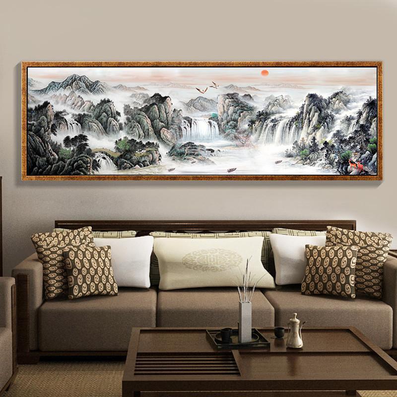 新中式钻石画客厅满钻山水风景钻石十字绣江山如画贴钻绣砖石画