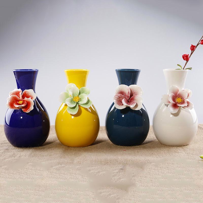 客厅装饰品陶瓷花瓶创意简约现代摆件工艺品欧式台面插花瓶-b款(灰蓝)