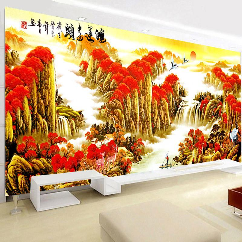 新款鉆石畫客廳滿鉆鴻運當頭點貼鉆十字繡大幅風景山水畫磚石畫5d