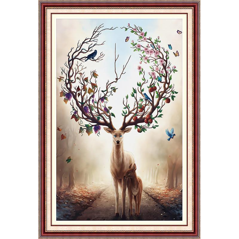 蒙娜丽莎新款十字绣发财鹿客厅风景简约现代竖版玄关小幅麋鹿大幅
