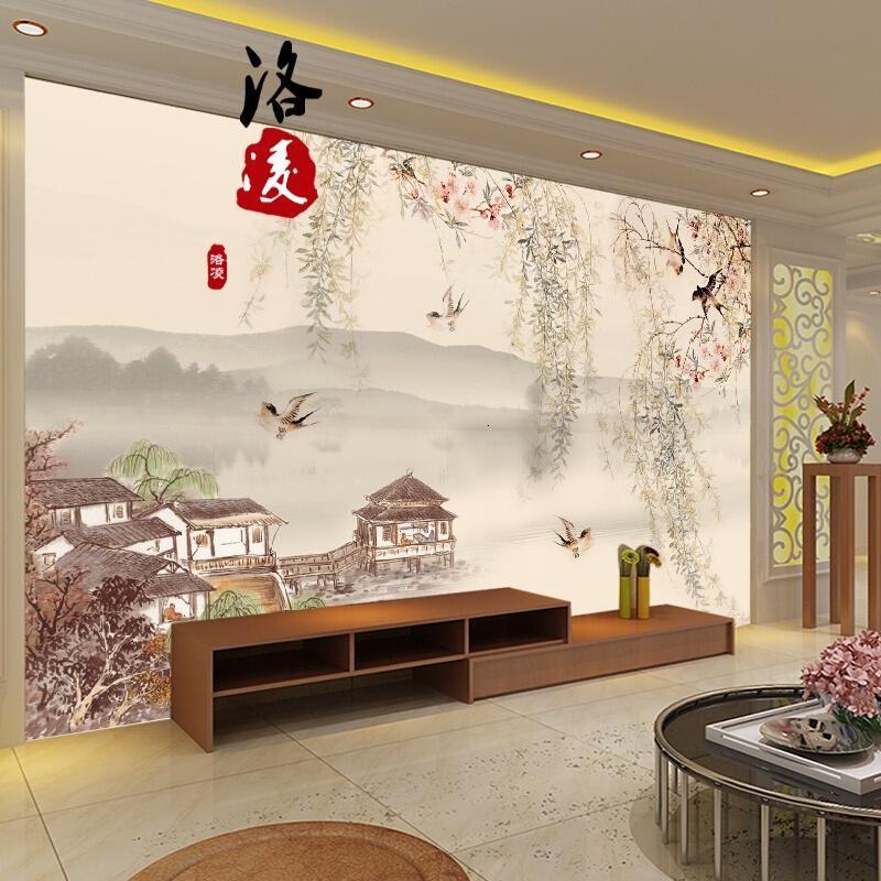 惠维中式国画山水风景墙纸客厅电视背景墙壁纸无缝墙布3d立体花鸟壁画