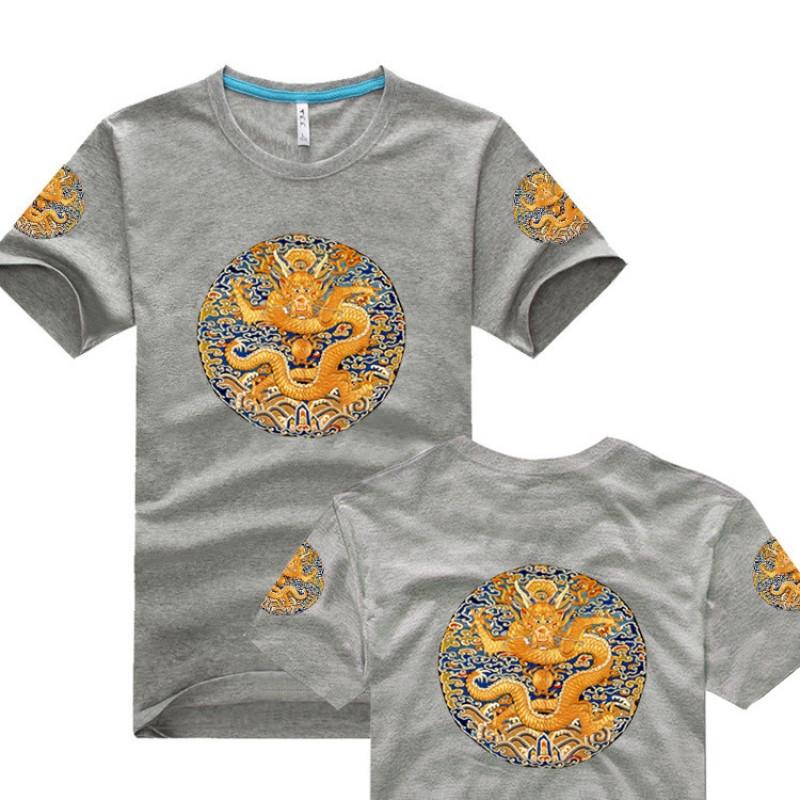 中国风清朝官服皇帝服装龙袍衣服古装男夏装双面印花短袖t恤大码