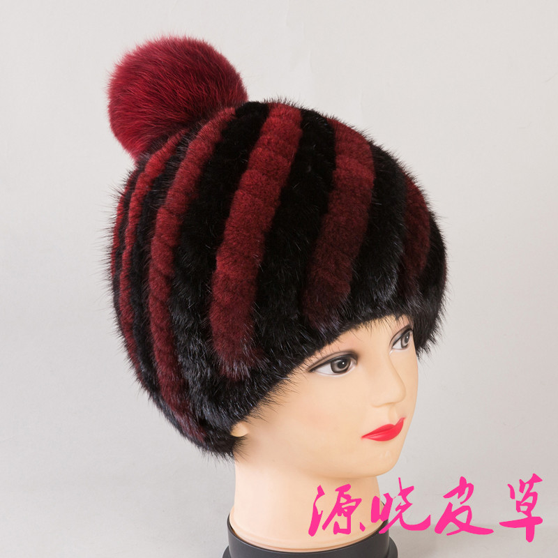 中老年人帽子女士水貂编织皮草帽子保暖老人帽秋冬天季妈妈帽