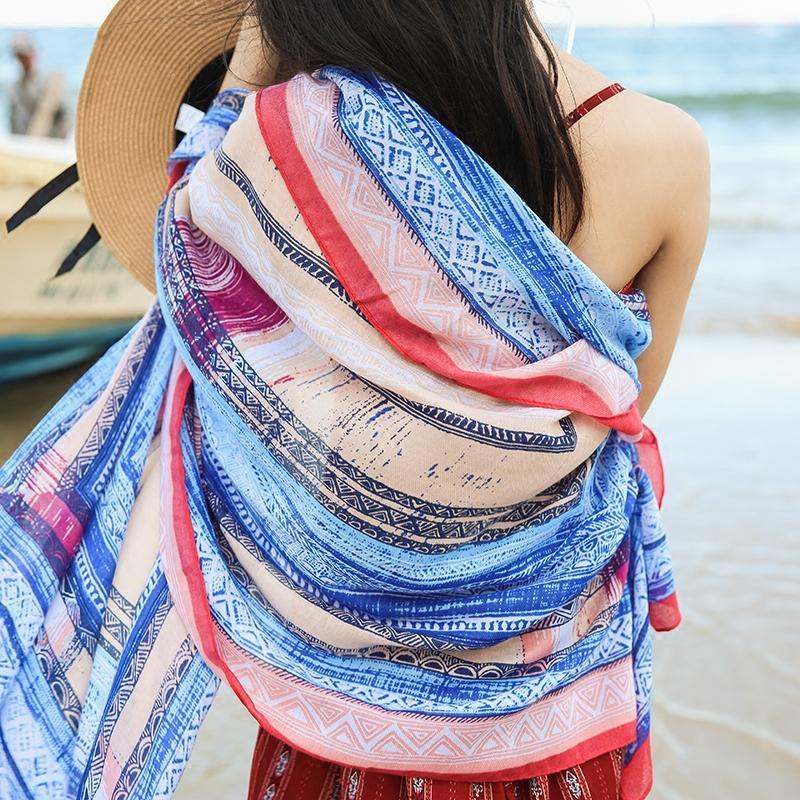 丝巾女夏季披肩围巾两用超大防晒海边纱巾春秋百搭208