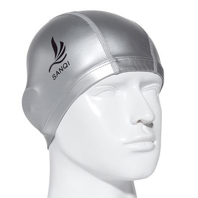 泳帽 三奇PU长发防水透气游泳帽 舒适不挤头男女款游泳装备