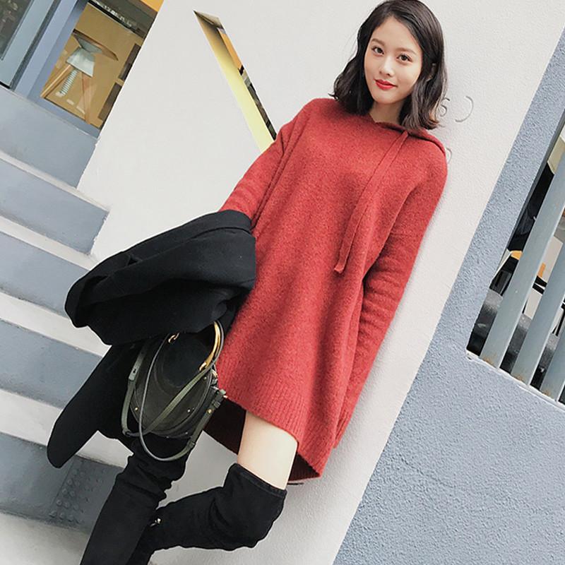 春装雅中长款宽松连帽羊毛针织衫休闲慵懒红色套头帽衫毛衣潮