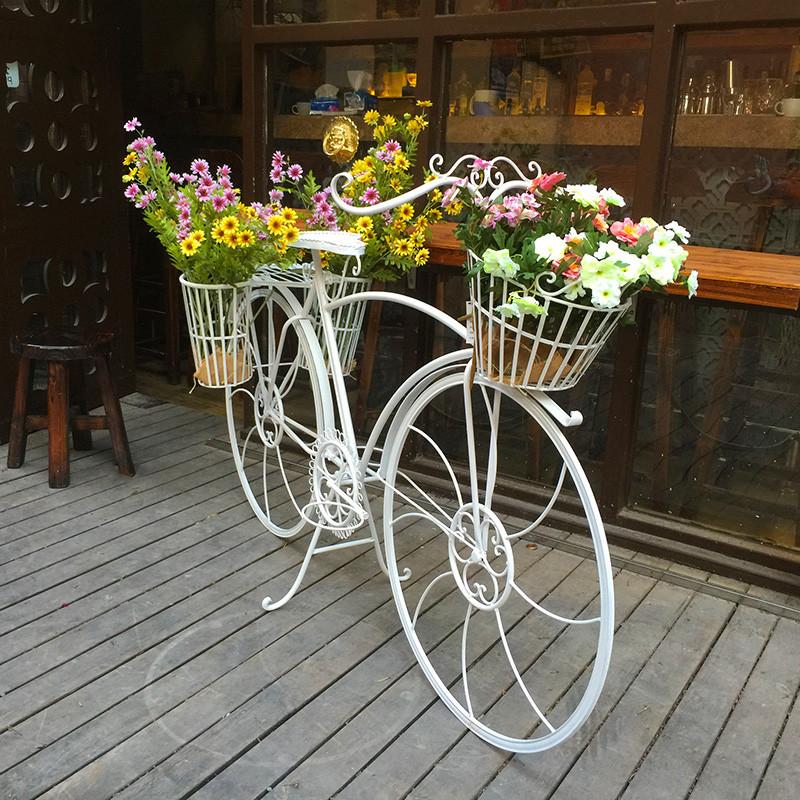 创意婚庆道具橱窗装饰摆件 欧式铁艺多层落地大自行车图片