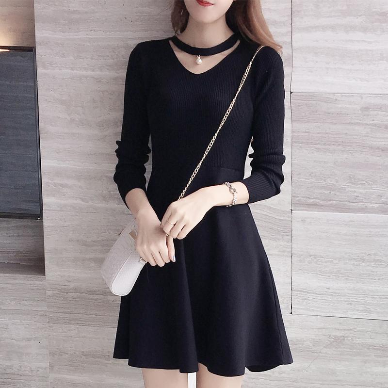 2017秋冬韩版新款女装长袖针织连衣裙中长款收腰显瘦内搭黑色礼服