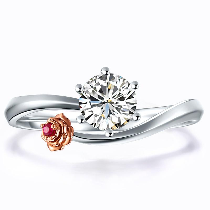 鸣钻国际 玫瑰 钻戒 结婚钻石戒指/宝石钻石婚戒 情侣