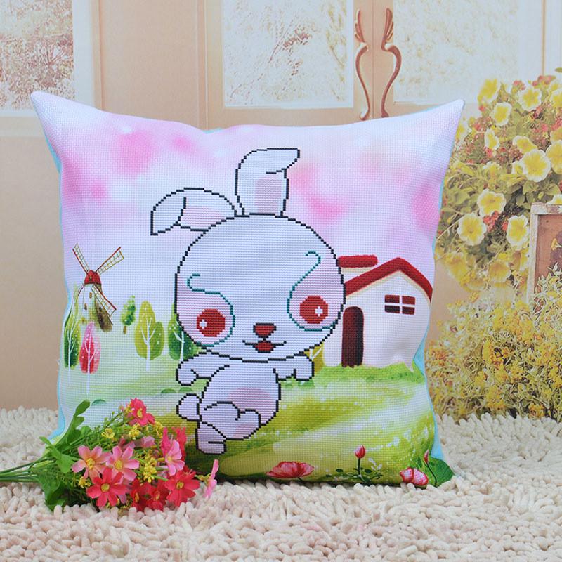十二生肖十字绣抱枕卡通动漫可爱闺蜜客厅沙发靠枕头套件