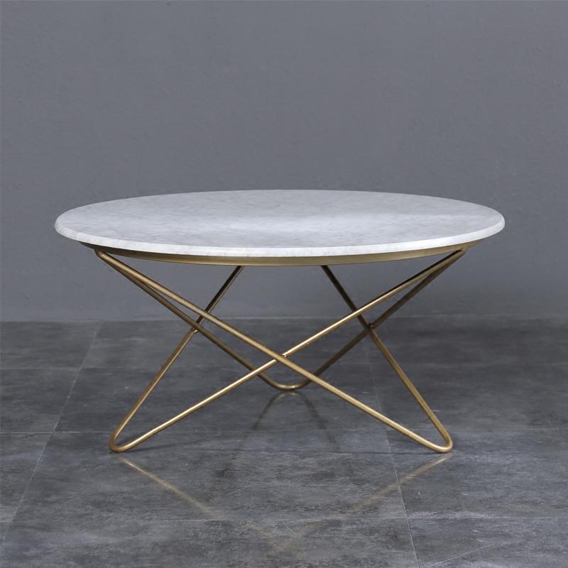 北欧简约现代小户型客厅铁圆形桌子小圆桌大理石茶几金属边几角几