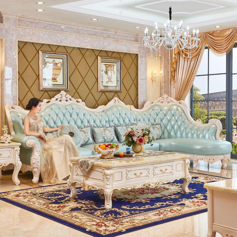 欧式真皮沙发小户型客厅转角贵妃沙发法式实木沙发组合l257图片