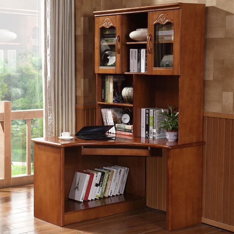 实木书桌书架组合家用直角转角电脑桌带书柜一体学生多功能学习桌