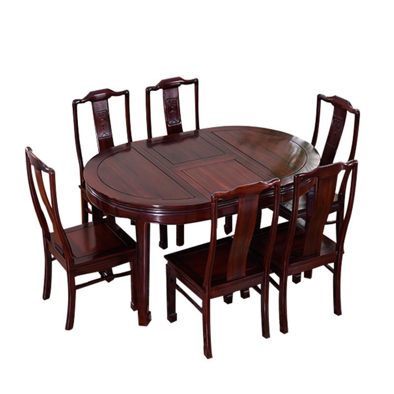 闽威红木家具餐桌酸枝木可伸缩圆桌 仿古中式茶桌饭桌