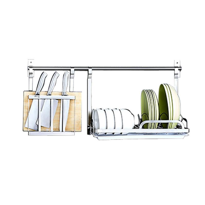 304不锈钢厨房置物架壁挂沥水碗调味料刀架收纳用品挂钩挂件