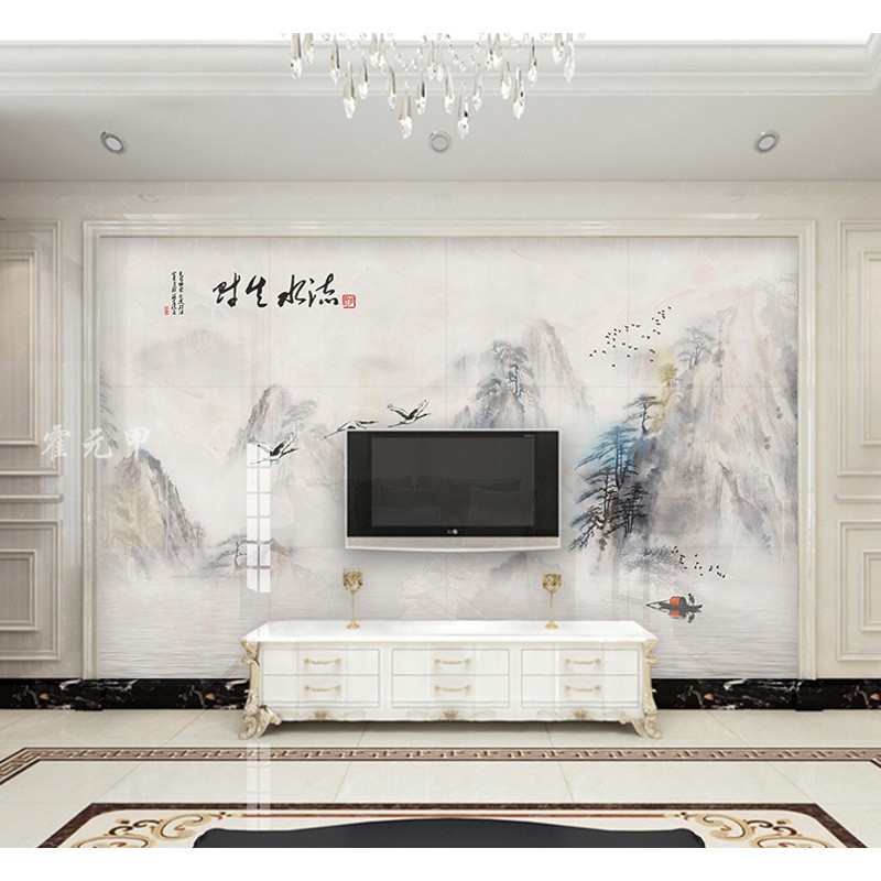 电视背景墙瓷砖现代简约欧式客厅3d微晶石材护墙板罗马柱装饰边框